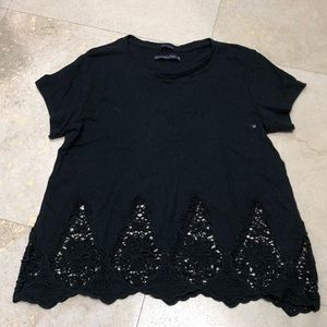 Abercrombie Black Cotton Tee with Lace Bottom